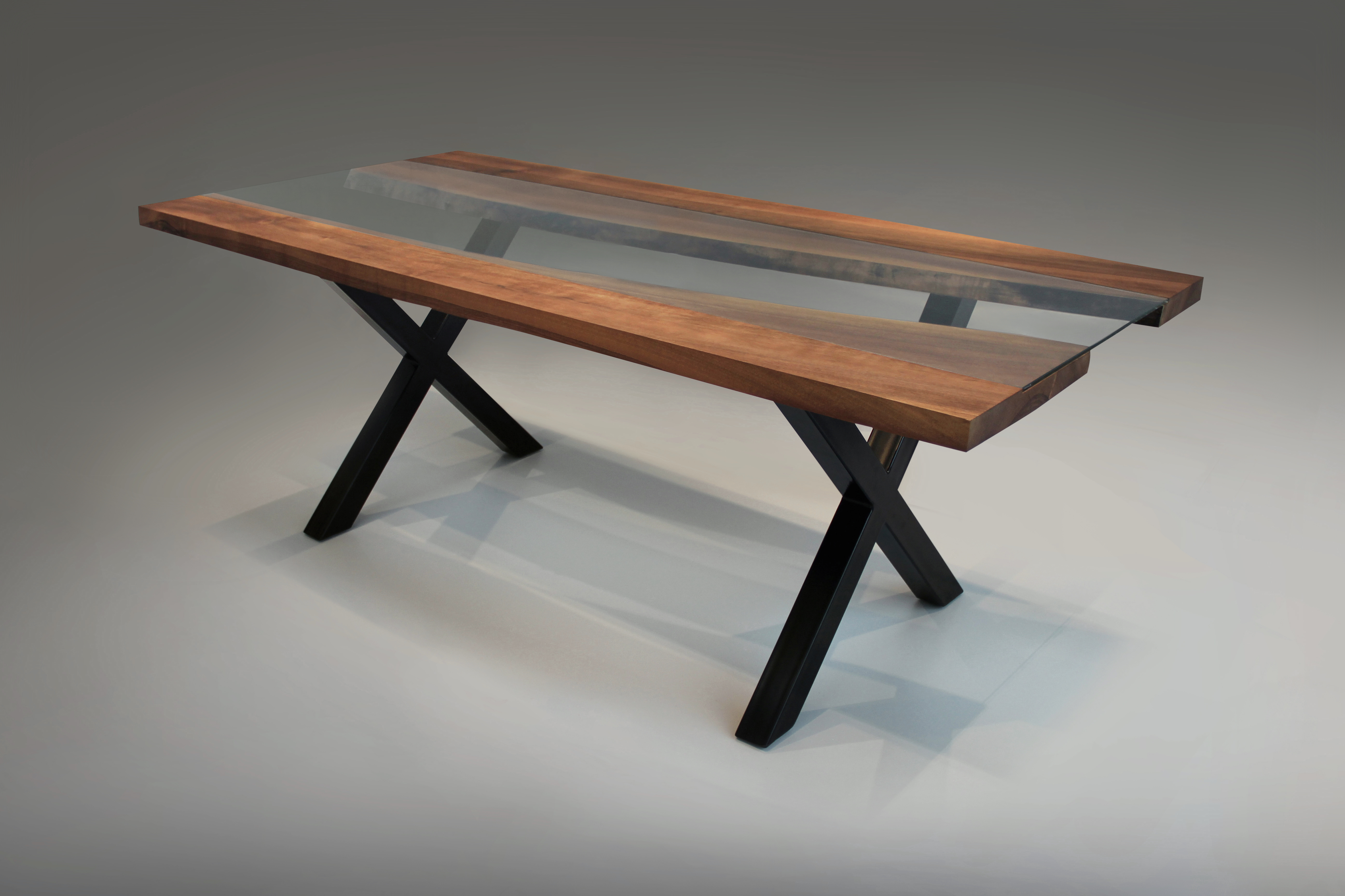 Walnut Live Edge & Glass Dining Table - Jack Page
